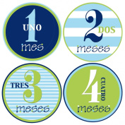 Mumsy Goose Baby Boy Stickers Spanish Monthly Age Stickers 1-12 Meses