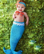 Pinbo Baby Crochet Knitted Photo Photography Prop Mermaid Tail Romper Outfit