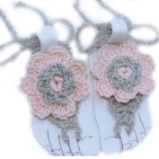 Pure Handmade Knit Flowers Barefoot Sandals Infant Toddler Baby Feet Decoration Pink
