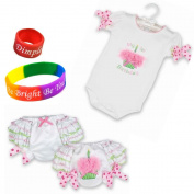 Bearington Her 1st Birthday Nappy Cover and Onesie from Bearington Baby with Dimple Ring and Bracelet