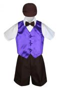 Leadertux 5pc Formal Baby Toddler Boys Purple Vest Brown Shorts Suits Cap S-4T (S: