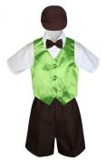 Leadertux 5pc Formal Baby Toddler Boy Lime Green Vest Brown Shorts Suit Cap S-4T