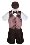 Leadertux 5pc Formal Baby Toddler Boys Brown Vest Bow Tie Shorts Suits Cap S-4T (M: