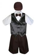 Leadertux 5pc Formal Baby Toddler Boys Black Vest Brown Shorts Suits Cap S-4T