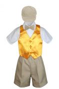 Leadertux 5pc Formal Baby Toddler Boys Yellow Vest Khaki Shorts Suits Cap S-4T (S: