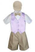 Leadertux 5pc Formal Baby Toddler Boys Lilac Vest Khaki Shorts Suits Cap S-4T (XL: