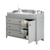 South Shore Cotton Candy Changing Table with Removable Changing Station, Soft Grey