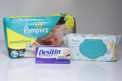 Nappies Bundle - Includes Pampers Swaddlers Size 1, Pampers Sensitive Wipes and Desitin Nappy Rash Cream
