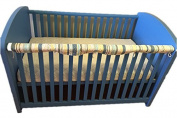 New Baby Cot Crib Teething Rail Cover Dust Ruffle Blue Stripe 100% Cotton 53
