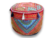 Indian Handmade Ottoman Pouffe ,Vintage Patchwork Ottoman, Home Living Room Decorative Foot Stool Cover,Embroidered Chair Cover 33cm x 46cm .