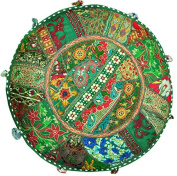 Indian Patchwork Round Pouffe , Ottaman Cover. Home Decorative Pouffe Cover,Handmade Foot Stool Floor Cushion Cover Living Room Pouffe Cover Embroidered Cotton Pillow Cover,Vintage Chair Cover Ethnic Decor Art 46cm