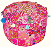 Indian Vintage Patchwork Ottoman Pouffe , Indian Living Room Pouffe, Foot Stool, Round Ottoman Cover Pouffe, Floor Pillow Ottoman Poof,Traditional Indian Home Decor Cotton Cushion Ottoman Cover 33cm x 46cm