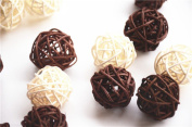 CheckMineOut 20Pcs Mixed 3cm 5 cm White Coffee Wood Twig Rattan Wicker Ball Wedding Decorations Home Garden Hanging Decor