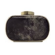 International Concepts INC Rachel Leather Minaudiere, Black Python Clutch Handbag