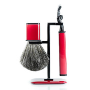 Axwell Red Modern Shaving Set with Razor, Badger Brush and Stand