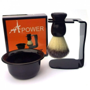 AKPOWER™ Badger Shaving Brush Set with Drip Stand and Shaving Soap Bowl