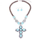 . Turquoise Celtic Cross Pendant & Drop Dangle Earrings Jewellery Set for Women