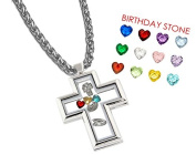 Cross Locket with Floating Charms - Stainless Steel Locket Necklace + 12 Heart Charms + 3 Christian Charms + 50cm Chain