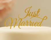 Ginger Ray Just Married Wedding Gold Sparkling Cake Topper - Pastel Perfection
