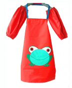 Hyzrz Cartoon Frog Kids Child Cleaning Aprons Sanitary Waterproof Children Apron with Sleevelets Large Red