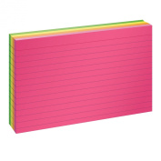 Oxford Ruled Index Cards, 10cm x 15cm Size, Assorted Glow Colours, 100 per Pack