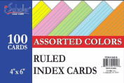 iScholar Index Cards, Assorted Coloured, Ruled, 10cm x 15cm , 100 Card Pack