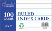 iScholar Index Cards, White, Ruled, 7.6cm x 13cm , 100 Card Pack