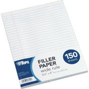 TOPS Notebook Filler Paper, Wide Ruled, 27cm x 20cm , 3-Hole Punched, Standard Weight, White, 1 Carton, 3600 Sheets Total