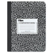 TOPS Marble Composition Books, 19cm x 25cm , Wide Rule, Hard Cover, 100 Sheets, White, Box of 12 Books