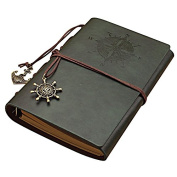 Vintage Leather Journal Plain Paper Refillable Diary Green