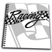 3dRose db_99325_1 Racing Black and White Chequered Flag-Drawing Book, 20cm by 20cm