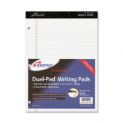 Ampad Evidence Dual Ruled Pad, Letter/Wide Rule, 22cm x 30cm , White, 100 Sheets