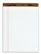 TOPS The Legal Pad Legal Pad, 22cm x 30cm , Perforated, White, Legal/Wide Rule, 50 Sheets per Pad, 3 Pads per Pack