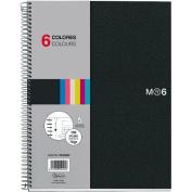 Miquelrius 8.5 x11 Wirebound Notebook, 6-Subject, College Ruled, Black