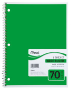 Mead Spiral Notebook, 1-Subject, 70-Count, Wide Rule, Green