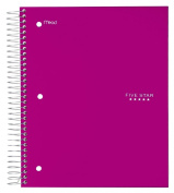 Five Star Spiral Notebook, 5 Subject, Wide Ruled Paper, 200 Sheets, 25cm - 1.3cm x 20cm , Royal Purple