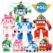 4 Pcs Robocar Poli Transformation Robot Car Toys South Korea Thomas Kids Gift