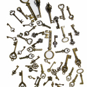 100 pcs Mixed Antique Bronze Assorted Mix of Keys