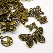 40pc Butterfly Charms, Pendants, Antique Bronze
