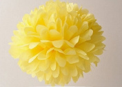 "SUNBEAUTY 10""/25cm 5pcs Tissue Paper Yellow Colour Pom Poms Flower Balls Hanging Decoration Party Birthday Wedding"