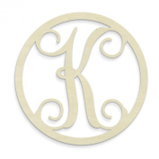 UNFINISHEDWOODCO Single Letter Circle Monogram-K, 48cm , Unfinished