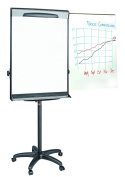 MasterVision Magnetic Gold Ultra Dry Erase Mobile Pres. Easel, Black and Silver