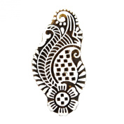 Hand Carved Printing Block Floral Pattern Wooden Mehndi Textile Stamp As Home Décor Gift Art