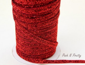 5 YARDS 3/8 Glitter Stretch Velvet Elastic Metallic NO FLAKE Trim- RED