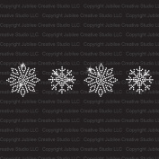 Set of 4 Tiny Frozen Snowflakes Iron On Rhinestone Crystal Transfer by Jubilee Rhinestones
