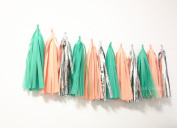 15 X Green Apricot Silver Tissue Paper Tassels for Party Wedding Gold Garland Bunting Pom Pom