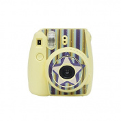 Darkhorse Strip & Star Series Decor Sticker For Fujifilm Instax Mini 8 Camera -- Yellow