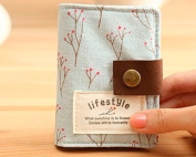 Shopready 20 Pockets Retro Portable Canvas Floral Girly Credit Card Holder Instant Pictures Photo Album for Polaroid Fujifilm Instax Mini 7S 8 25 50S 90 Films - Blue