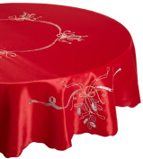 Lenox Holiday Nouveau Tablecloth, 180cm Round, Red