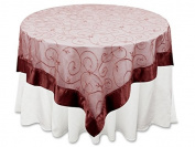 BalsaCircle 220cm x 220cm Burgundy Embroidered Sheer Organza Table Overlays - Wedding Reception Party Catering Table Linens Decorations